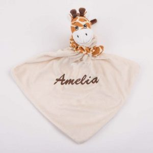 Giraffe baby comforter embroidered with the name Ava
