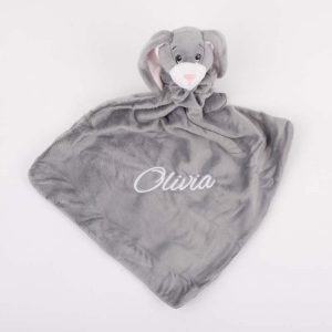 Grey bunny baby comforter personalised with the name Olivia