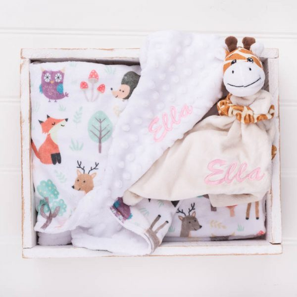 Personalised Forest Minky Blanket & Giraffe Baby Comforter personalised with the name Ella