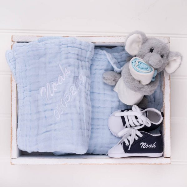 Personalised Blue Muslin Blanket, comforter & Navy Shoes Baby Gift Box