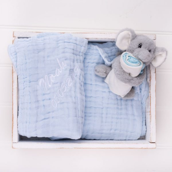 Personalised Blue Muslin Blanket & Elephant Comforter personalised with the name Noah