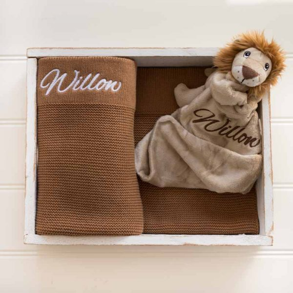 Personalised Brown Knitted Blanket & Lion Comforter personalised with the name Willow