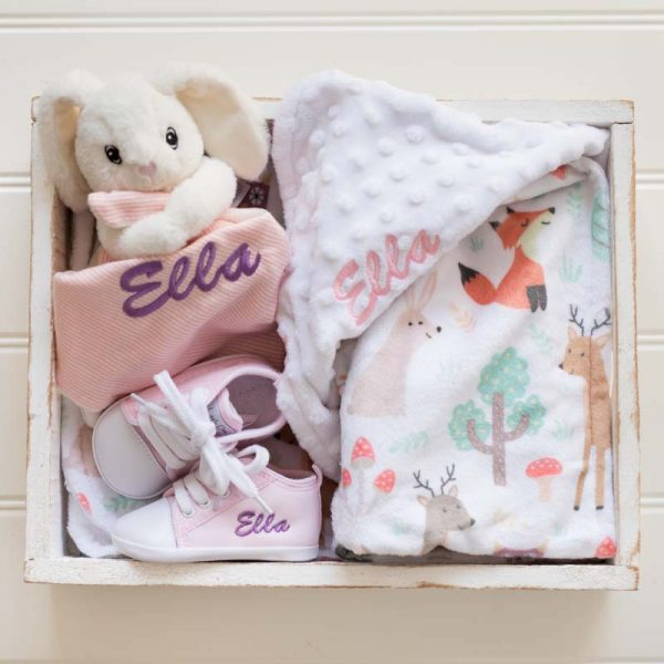 Forest Minky, White Bunny Comforter & Shoes Baby Gift Box