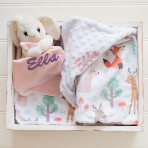 Personalised Forest Minky Blanket & Bunny Baby Comforter personalised with the name Ella