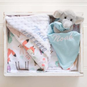 Personalised Forest Minky Blanket & Elephant Baby Comforter Gift Box personalised with the name Noah