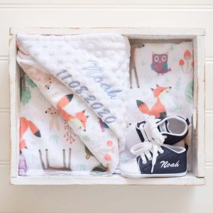 Personalised Forest Minky Blanket & Navy Blue Baby Shoes personalised with the name Noah