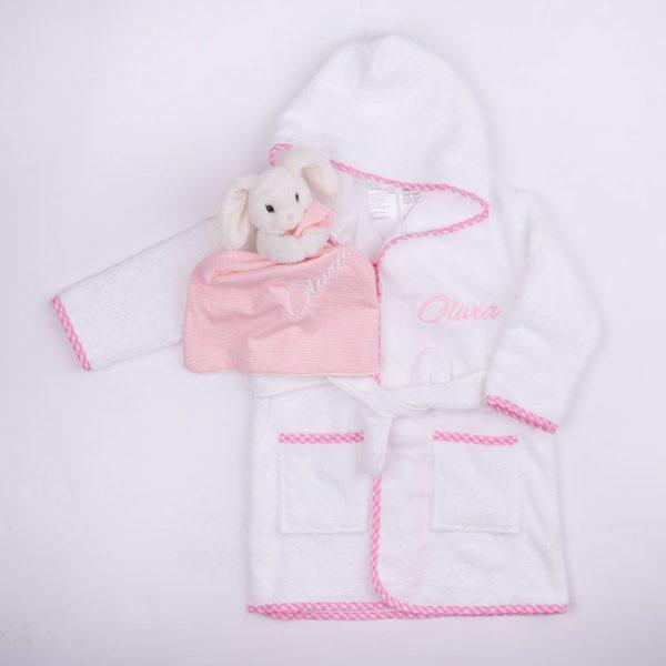 Pink Gingham Hooded Robe & Bunny Comforter Baby Gift Box
