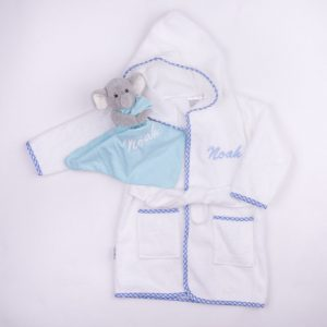 Blue Gingham Hooded Robe & Elephant Comforter Baby Gift personalised with the name Noah