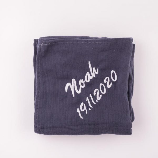 Navy Blue Organic Muslin Baby's Wrap personalised with the name Noah