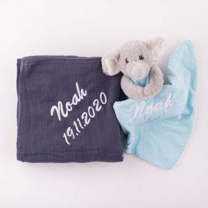 Personalised Navy Blue Muslin Wrap & Elephant Baby Comforter personalised with the name Noah