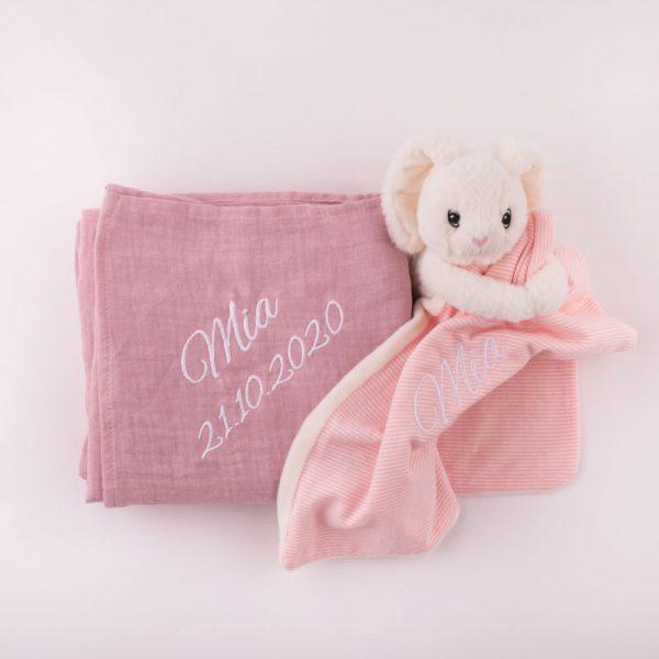 Personalised Pink Muslin Wrap & Bunny Baby Comforter