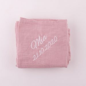 Personalised Pink Organic Muslin Wrap personalised with the name Mia
