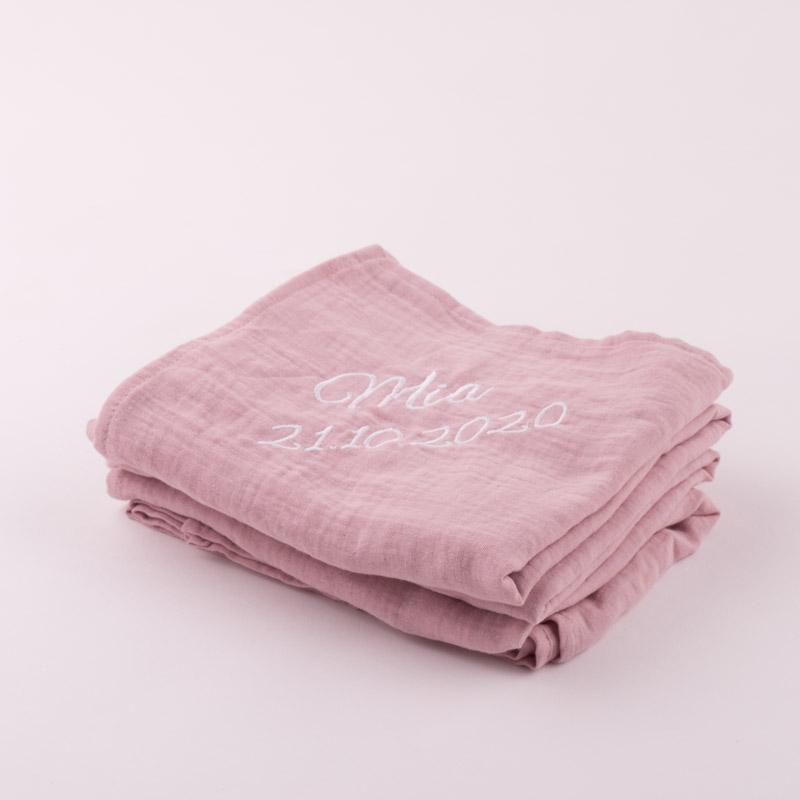 Personalised Pink Organic Muslin Wrap personalised folded