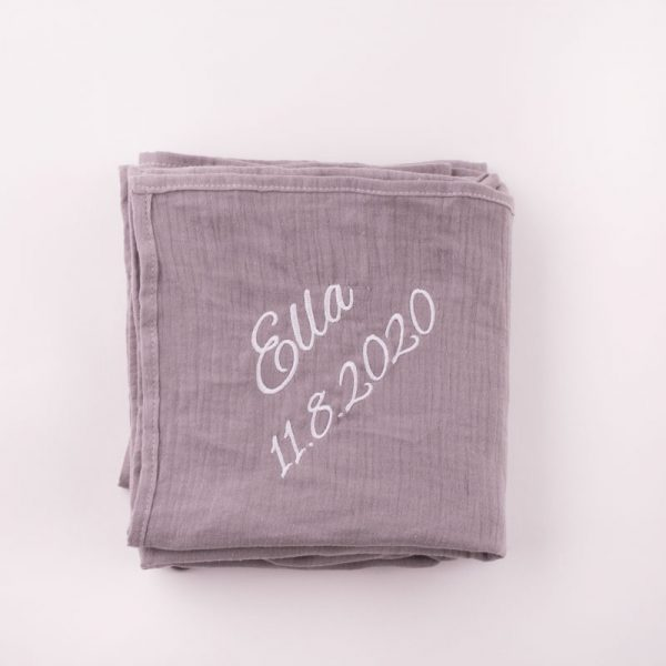Personalised Grey Organic Muslin Wrap personalised with the name Ella