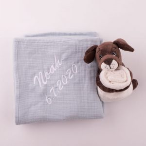 Personalised Green Sage Muslin Wrap & Puppy Baby Comforter personalised with the name Noah