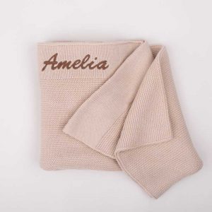 Personalised Beige Knitted Blanket embroidered with the name Amelia