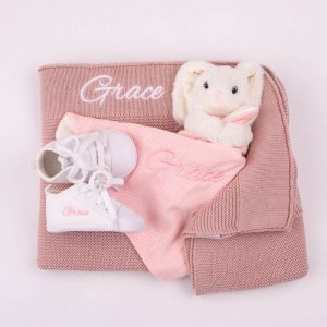 Blush Pink Knitted Blanket, Bunny Comforter & White Baby Shoes embroidered with the name Grace