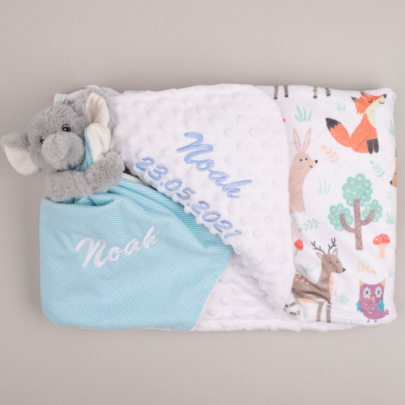 A forest minky blanet & elephant comforter both personalised with the name Noah