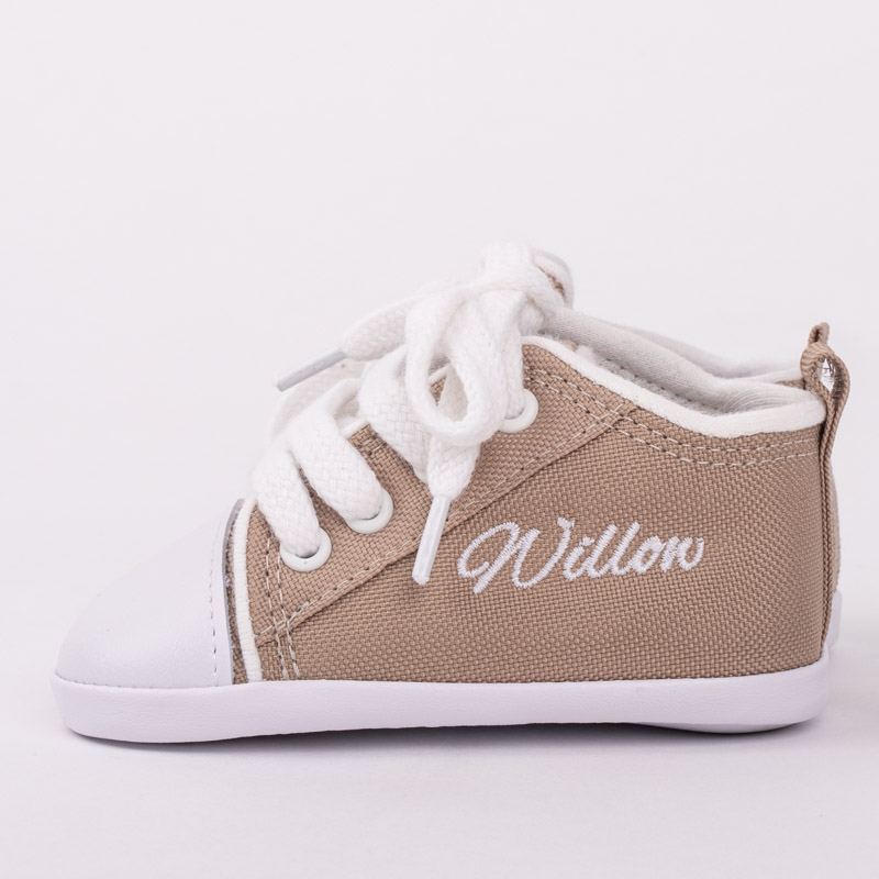 Sand coloured baby shoes personalised with the name Willow