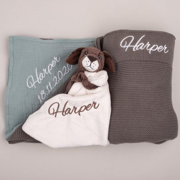 Olive Knitted Blanket, Green Sage Wrap & Comforter Gift Box