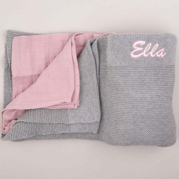 Grey Knitted Blanket & Pink Muslin Wrap Gift Box Personalised with the name Ella