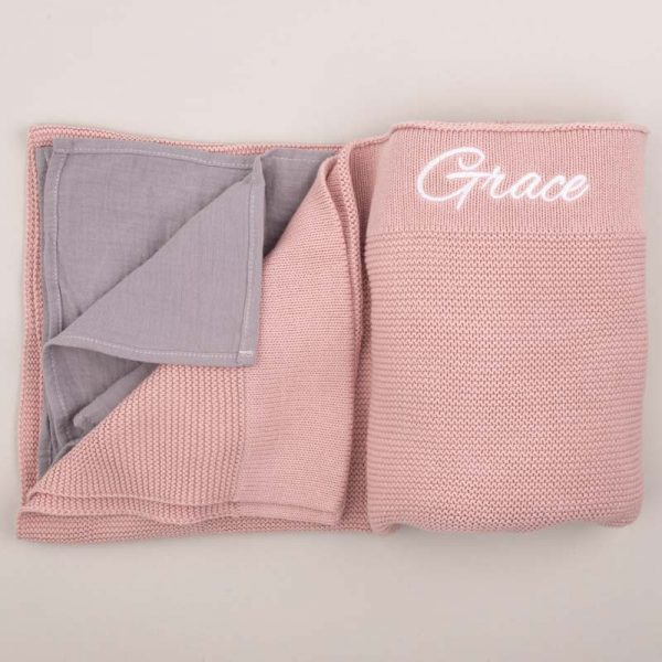 Blush Pink Knitted Blanket & Grey Muslin Wrap Gift Box embroidered with the name Grace