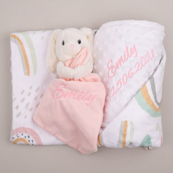 Personalised Forest Rainbow & Heart Blanket & Bunny Baby Comforter personalised with the name Emily